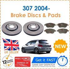 For Peugeot 307 1.4 1.6 2.0 2004- Front Vented Brake Discs 283mm & 4 Brake Pads