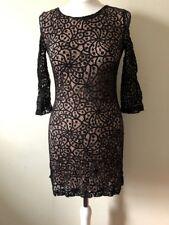 Mango Black Lace Skater Dress Size S (UK 10) Classic Little Black Dress