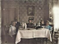 c.1900 Thanksgiving Turkey Dinner Antique Fiddleback Phone Photo Glass Negative