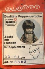 NEW Glorex 23-24cm Light Brown Bangs & Long Pigtail Braids Doll Wig Switzerland