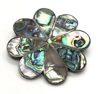 VTG TAXCO .925 Sterling Silver FC Mexico Black Onyx Abalone Flower Earring Pin