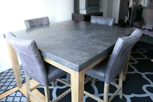 Bluestone Dark Grey Marble Dining Set (LOCAL PICKUP ONLY)