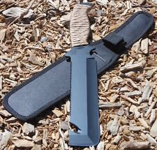 """12"""" Hunting KNIFE Tactical Gut Hook Survival Saw Full Tang Fixed Blade Combat"""