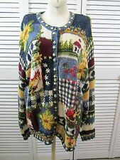 VTG 90's Blue Yellow Artsy Odd Strange Floral Farm Hand Knit Oversized Sweater M