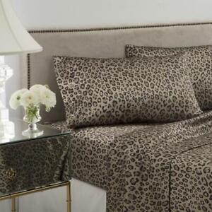 Seduction Satin LEOPARD Queen Sheet Set Polyester Satin Luxury Animal Print New