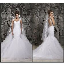 New Lace White Ivory Mermaid Wedding Dress Bridal Gown Size 6 16 Custom