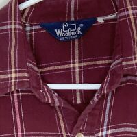 Woolrich Mens Flannel Shirt LS Purple Plaid Medium
