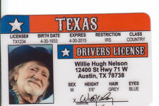 Country Western Singer Willie Nelson Austin TX ON THE ROAD AGAIN Drivers License