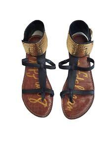 Sam Edelman Genette Black Gladiator Sandal Size 6.5M Gold Ankle Cuff T-Strap