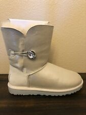 UGG Bailey I Do! Bridal Boots White / Bling Crystal Button WOMEN'S SIZE 7
