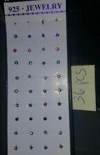 36 pcs Rhinestone Nose Rings Stud Lot .925 Silver Body Jewelry New USA Ring 20g