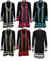 Womens Ladies Long Sleeve Ribbed Knit Waterfall Crochet Long Cardigan Plus Size