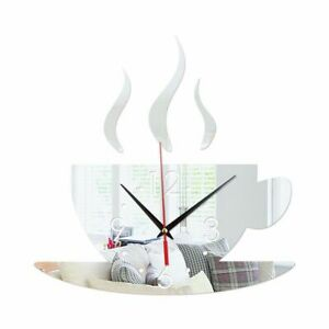 Wall Sticker 3D Mirror Coffee Cup Clock Shape Background Decoration for Home Bed