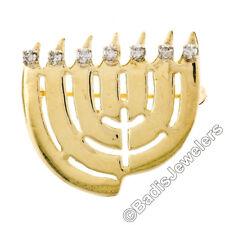 VINTAGE 14k ORO AMARILLO .21ctw Diamante Siete Lámpara Hanukkah Menora Broche