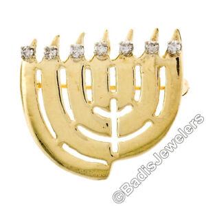 Vintage 14k Yellow Gold .21ctw Diamond Seven Lamp Hanukkah Menora Brooch Pendant