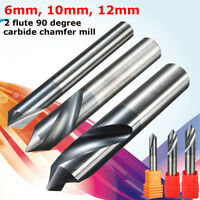 6-12mm Chamfer End Mill 90 Degree Cutter Router Bit Tool 2 Flutes HRC45 Carbide