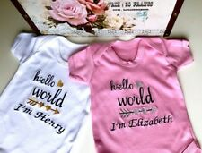 Hello World Personalised Baby Vest, Bodysuit,Grow,Outfit New Baby Girl Boy Gift