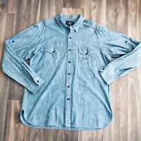 RRL Ralph Lauren XL Blue Indigo Chambray Work Shirt Roll Sleeves Graphic Stamps