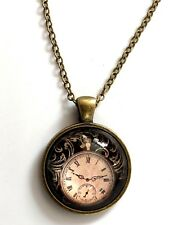 "Steampunk pic of a clock in glass necklace 22"" chain Antique brass tone gift #57"