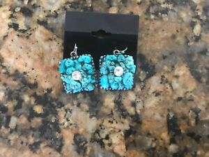 Southwest style earrings. Turquoise colored stones with diamond/glass