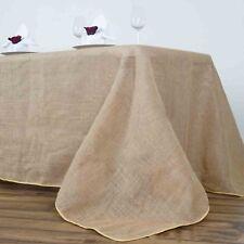 """90x156"""" Rectangle Rustic Burlap Tablecloth - Natural Tone"""