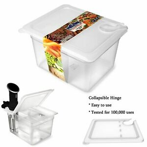 Sous Vide Container 12 Quart w/ Collapsible Hinge Lid Mount Corner Anova Cooker