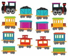 ~ Trains Travel Caboose Coal Carriages Mrs Grossman Stickers ~