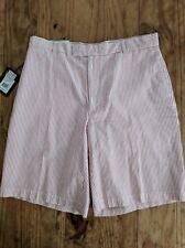 Greg Norman Shorts 34 New $58 Performance Pink White Striped Cotton Seersucker