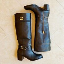 Coach Wide-Calf Knee High Riding Boots, Black Leather, Size 39