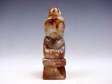 Vintage Nephrite Jade Sculpté Sculpture Ancien à Genoux Prisonnier #05311803