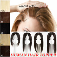 USA Clip In 100% Human Hair Topper Toupee Top Piece Hairpiece Wig Women Straight