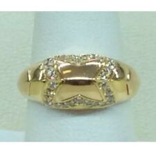 18K YELLOW GOLD DOMED 1/4CTTW DIAMOND BAND MOTIF RING SIZE 6.75