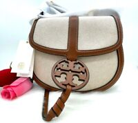 AUTH NWT Tory Burch Women's Miller Canvas Quadrant Saddle Bag In Classic Cuoio