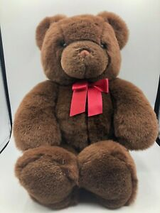 Large Retired Gund Plush Kids Soft Stuffed Toy Animal Brown Teddy Bear Red Bow
