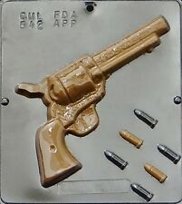 Revolver Gun with Bullets Chocolate Candy Mold  542 NEW