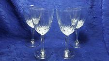 """Set Of 4 Clear Wine Stemware Glasses Diamond Pattern 7"""" Tall"""