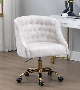 Beige Velvet Fabric Upholstered Tufted Office Chair Home Office Chair Gold Base