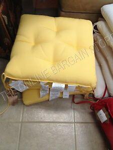 "Pottery Barn Chesapeake Dining Chair Tufted Cushion Sunbrella Buttercup 19"""