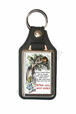 ALICE IN WONDERLAND ALL MAD HERE LEATHER STYLE KEY RING.INSERT 2.5 X 4 cm