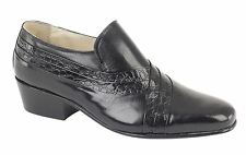Mens Montecatini Italian Styled Black Leather Shoes With Cuban HEELS M5104a UK 7