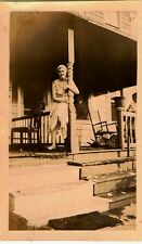Old Antique Vintage Photograph Woman Holding On Porch Rail of Country Home