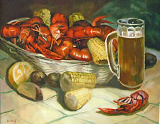 Crawfish Boil with Beer Mug New Orleans Baltas Matted Art Print Jackson Square