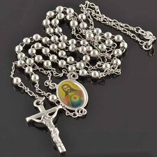 "24 "" 9K White Gold Filled Jesus Rosary Pray Bead Jesus Cross Necklace,F214"