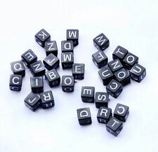 200pcs Mixed Alphabet /Letter Acrylic Cube Black Beads 6x6mm free shipping L003