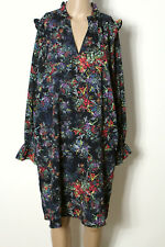 H&M Kleid Gr. 38-40 blau-bunt knielang Langarm Blumen Chiffon Kleid