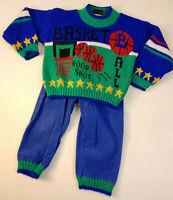 Vtg 80s 90s Boys Sz 2 Sweater Corduroy Pants Set Bright Colorful Basket Ball E60