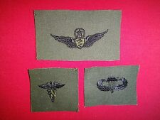 3 US Military Collar Patches: Master FLIGHT SURGEON + NURSE CORPS + PARACHUTIST