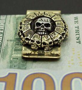 Skull Stainless Steel Money Clip Cash Credit Card Holder Wallet Bronze Gold 3D