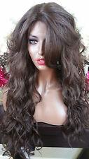 Beautiful Medium Brown Lace Front Wig w/Long Bangs Wavy Heat Safe