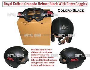 "100% Genuine Royal Enfield ""Granado Helmet Black"" With Remx Goggles"